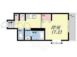 阪急今津線 甲東園駅 徒歩17分の賃貸アパート 2階1Kの間取り