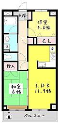 コルテシア府中 7階2LDKの間取り