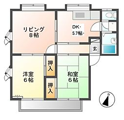 コーポアップルB[2階]の間取り