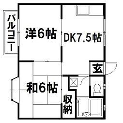 静岡県浜松市東区恒武町の賃貸アパートの間取り