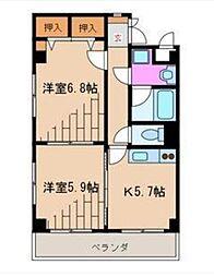 三恵中田パレス[8階]の間取り