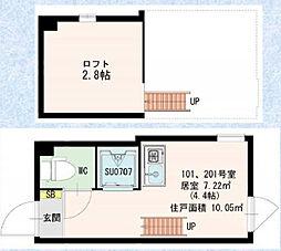 東京都品川区上大崎1丁目の賃貸アパートの間取り