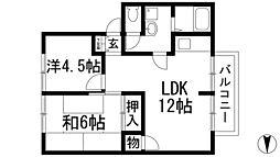 矢内ハイツ南花屋敷B棟[1階]の間取り