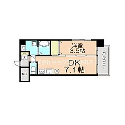 (仮称)アンフィニ17マローネ 6階1DKの間取り