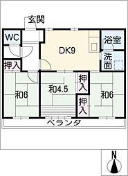 たなばた住宅3棟333号室[3階]の間取り