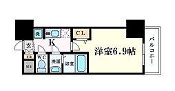 Osaka Metro中央線 阿波座駅 徒歩1分の賃貸マンション 5階1Kの間取り