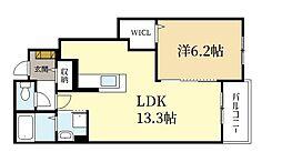 カーサレジオII 1階1LDKの間取り
