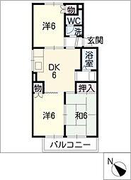 ジュエルコート安田A棟[2階]の間取り