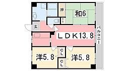 兵庫県姫路市仁豊野の賃貸マンションの間取り