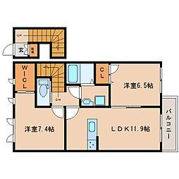 奈良県葛城市長尾の賃貸アパートの間取り