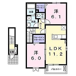 ル・レーヴB[2階]の間取り