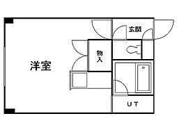 西岡オリンピアビル 3階1Kの間取り