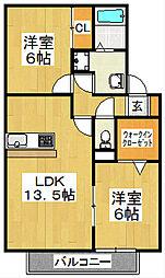 京都府京都市山科区音羽前出町の賃貸アパートの間取り