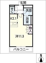 岐阜県可児市平貝戸の賃貸アパートの間取り