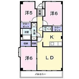 千葉県松戸市六高台7丁目の賃貸マンションの間取り