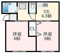 ヒルサイドヴィスタ 2階2DKの間取り