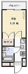 カワラマチハイツ熊谷II 3階1Kの間取り