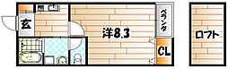 ソレイユ学研台[205号室]の間取り