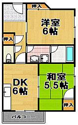 マンション第2梅香[0301号室]の間取り