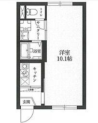 JR常磐線 南千住駅 徒歩11分の賃貸マンション 2階1Kの間取り