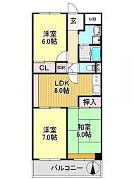 ユニハイム平野[11O8号室号室]の間取り