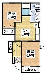 サンハイム柿ノ木[1階]の間取り