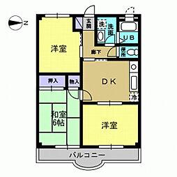 ヴェルドミール 3階3DKの間取り