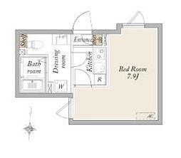東武亀戸線 亀戸水神駅 徒歩8分の賃貸マンション 1階ワンルームの間取り