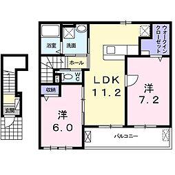上野町アパート B棟[0202号室]の間取り