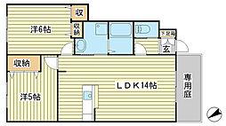 フェリア山崎[A102号室]の間取り