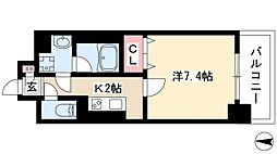 キャナルスクエア 6階1Kの間取り