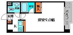 ディアコート 9階1Kの間取り