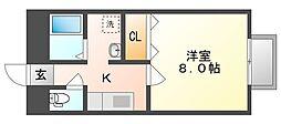 岡山県倉敷市中庄の賃貸アパートの間取り