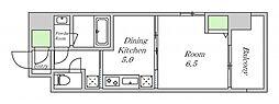 近鉄南大阪線 河堀口駅 徒歩7分の賃貸マンション 6階1DKの間取り