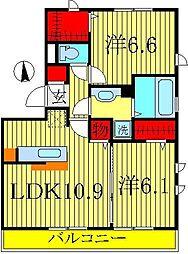 千葉県柏市酒井根4丁目の賃貸アパートの間取り