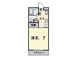 ロイヤルハートピア郷津 B棟[502号室]の間取り