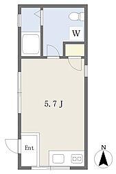 One Box Flat 西落合 1階ワンルームの間取り