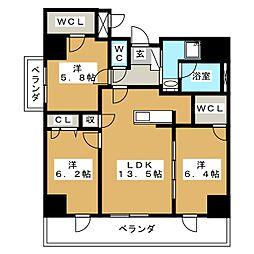 アルティザ仙台花京院[12階]の間取り