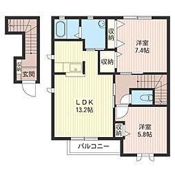 ジナンドモルフA[2階]の間取り