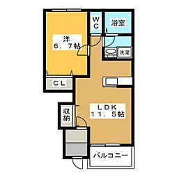 仮)各務おがせ町S様新築アパート[1階]の間取り