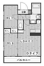 プラキドゥム[4階]の間取り