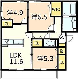 仮称)D−room目川ハイツB棟[301号室]の間取り