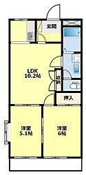 愛知県豊田市明和町5丁目の賃貸アパートの間取り