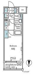 東京メトロ東西線 東陽町駅 徒歩6分の賃貸マンション 7階1Kの間取り