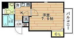 エルミタージュ福島[4階]の間取り