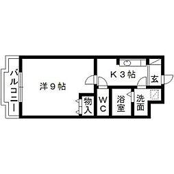 静岡県浜松市中区萩丘3丁目の賃貸マンションの間取り