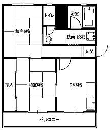 福岡県北九州市小倉北区熊谷3丁目の賃貸マンションの間取り