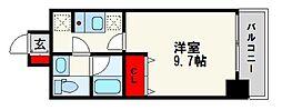 ドミール西新 4階1Kの間取り