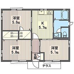 [一戸建] 栃木県小山市大字横倉新田 の賃貸【/】の間取り