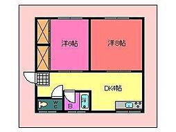 コットンハウス 2階2DKの間取り